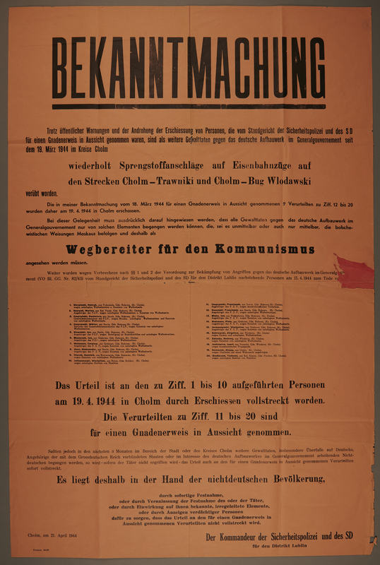 1994.108.2 front Announcement (Bekanntmachung) issued for the Lublin ghetto