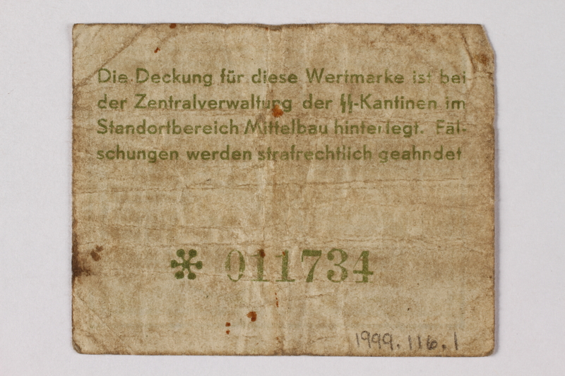 1998.116.1 back Mittelbau forced labor camp scrip, -.10 Reichsmark, issued to a Polish political prisoner