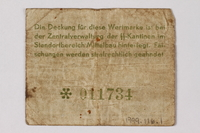 1998.116.1 back Mittelbau forced labor camp scrip, -.10 Reichsmark, issued to a Polish political prisoner  Click to enlarge