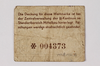 1998.116.8 back Mittelbau forced labor camp scrip, -.05 Reichsmark, issued to a Polish political prisoner  Click to enlarge
