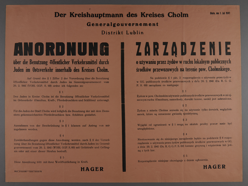 1994.108.4 front Poster announcing travel restrictions for Jews in German occupied Chelmno