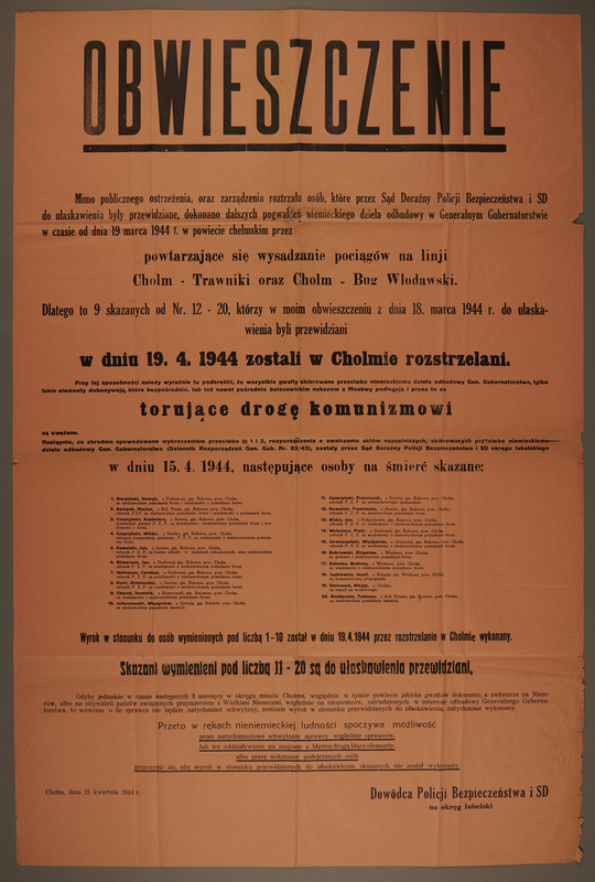 1994.108.6 front Ghetto announcement issued for the District of Lublin, Poland.