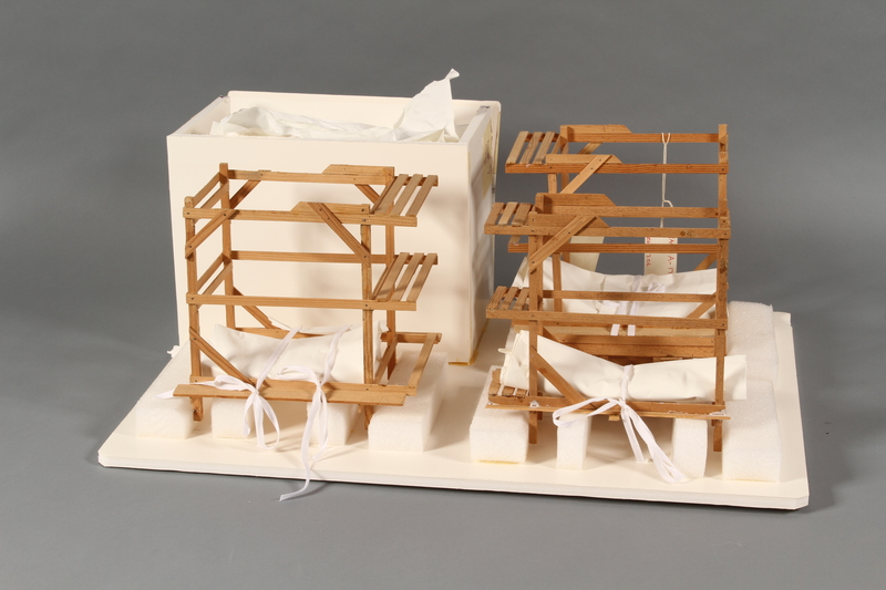 1989.119 back Scale model of Block 5 men's barracks at Theresienstadt made by a former Jewish Czech inmate