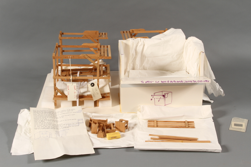 1989.119 open Scale model of Block 5 men's barracks at Theresienstadt made by a former Jewish Czech inmate