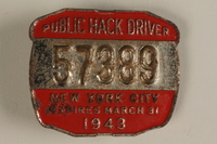 1994.12.8 front NYC taxicab medallion  Click to enlarge