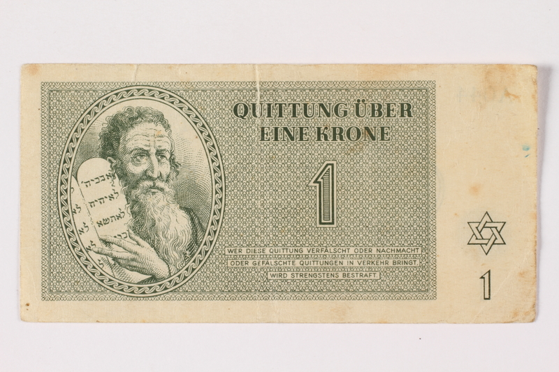 1994.17.2 front Theresienstadt ghetto-labor camp scrip, 1 krone note
