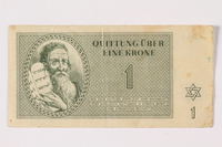 1994.17.2 front Theresienstadt ghetto-labor camp scrip, 1 krone note  Click to enlarge