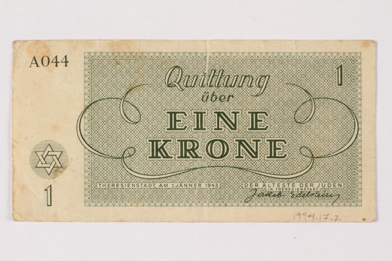 1994.17.2 back Theresienstadt ghetto-labor camp scrip, 1 krone note