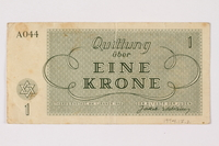 1994.17.2 back Theresienstadt ghetto-labor camp scrip, 1 krone note  Click to enlarge