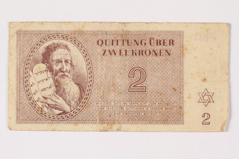 1994.17.3 front Theresienstadt ghetto-labor camp scrip, 2 kronen note