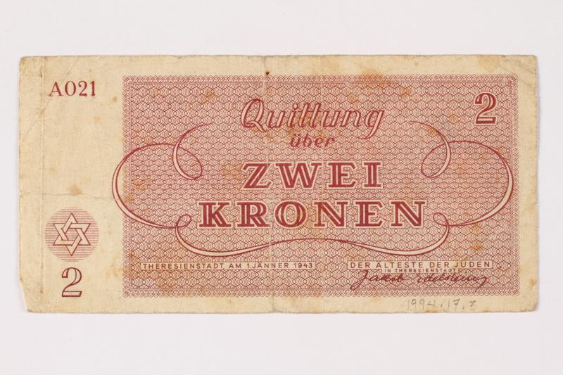 1994.17.3 back Theresienstadt ghetto-labor camp scrip, 2 kronen note