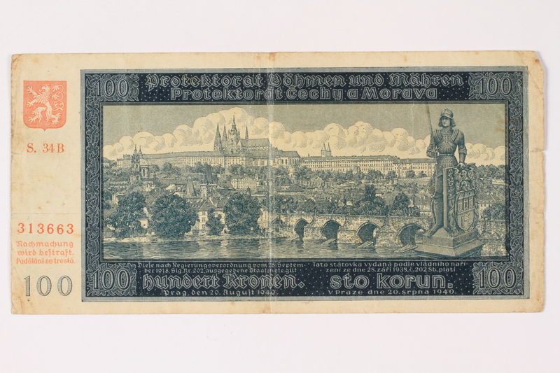 1994.17.4 front Protectorate of Bohemia and Moravia, 100 kronen note, issued in German occupied Czechoslovakia