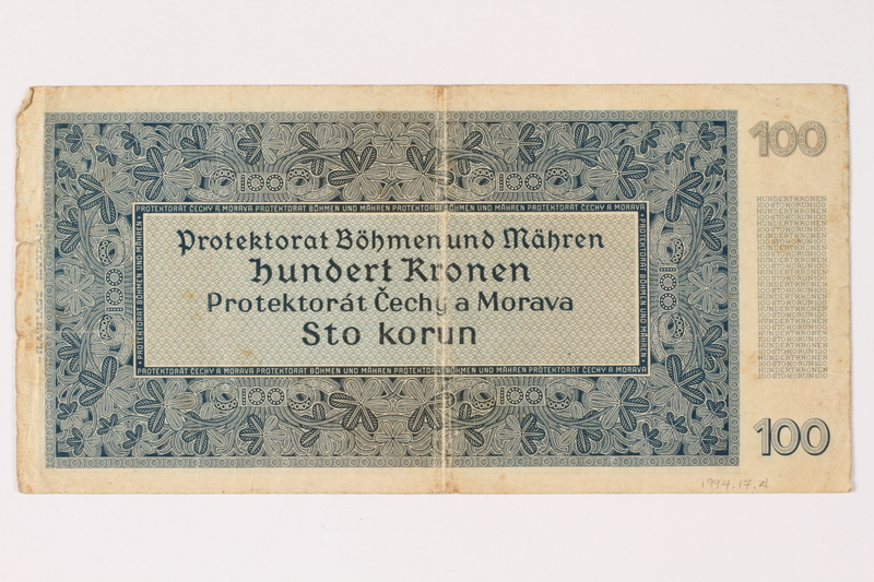 1994.17.4 back Protectorate of Bohemia and Moravia, 100 kronen note, issued in German occupied Czechoslovakia