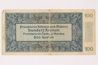 1994.17.4 back Protectorate of Bohemia and Moravia, 100 kronen note, issued in German occupied Czechoslovakia  Click to enlarge
