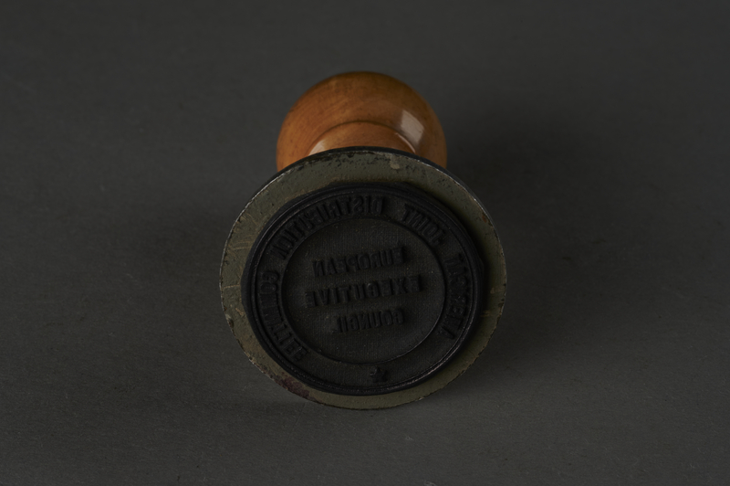 2013.303.2 bottom Hand stamp, European Executive Council of the American Joint Distribution Committee, used by a council member