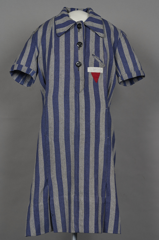 1994.24.1 front Concentration camp uniform dress with number 94593 worn by a German Jewish inmate