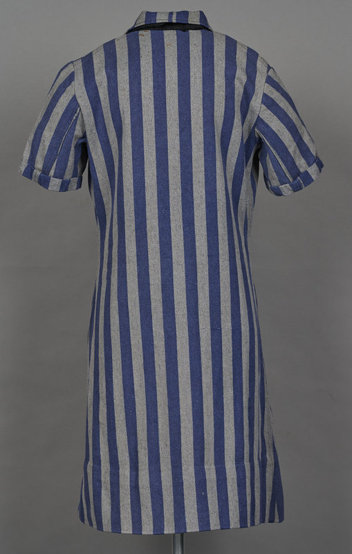 1994.24.1 back Concentration camp uniform dress with number 94593 worn by a German Jewish inmate