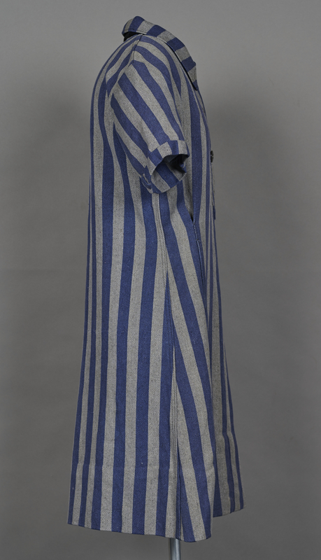 1994.24.1 right Concentration camp uniform dress with number 94593 worn by a German Jewish inmate