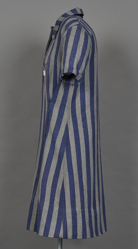 1994.24.1 left Concentration camp uniform dress with number 94593 worn by a German Jewish inmate