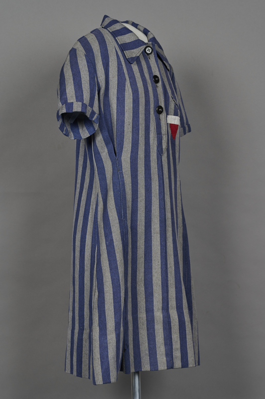 1994.24.1 3/4 right Concentration camp uniform dress with number 94593 worn by a German Jewish inmate
