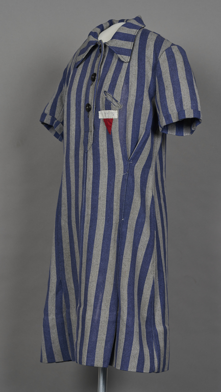 1994.24.1 3/4 left Concentration camp uniform dress with number 94593 worn by a German Jewish inmate