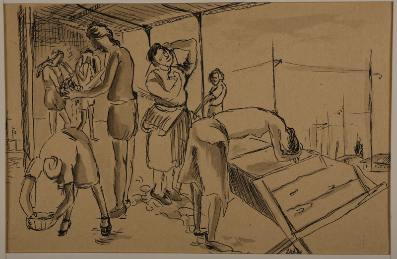 1988.1.20 front Drawing of women washing (Version I) by a German Jewish internee