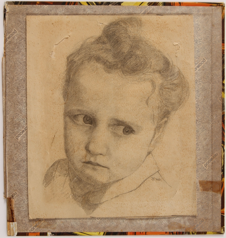 2013.470.6 front Pencil portrait of a former Jewish Polish hidden child done in DP camp