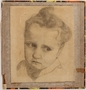 Pencil portrait of a former Jewish Polish hidden child done in DP camp