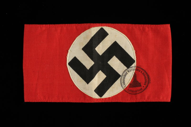 1994.34.1 front Nazi swastika armband acquired by an American soldier