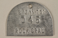 1994.35.1 front Identification tag from the crematorium at Buchenwald  Click to enlarge