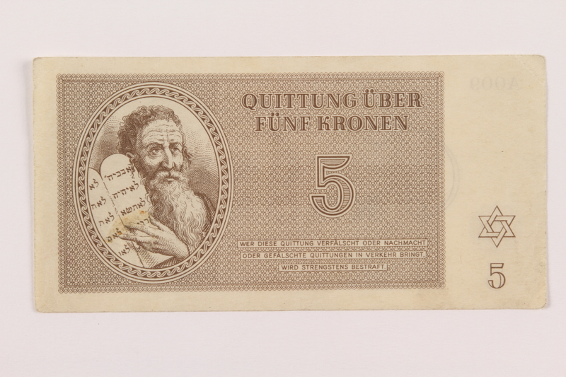 1994.36.1 front Theresienstadt ghetto-labor camp scrip, 5 kronen note