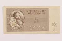 1994.36.1 front Theresienstadt ghetto-labor camp scrip, 5 kronen note  Click to enlarge
