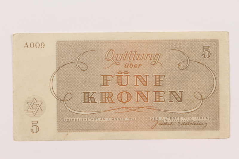 1994.36.1 back Theresienstadt ghetto-labor camp scrip, 5 kronen note