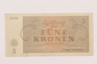 1994.36.1 back Theresienstadt ghetto-labor camp scrip, 5 kronen note  Click to enlarge