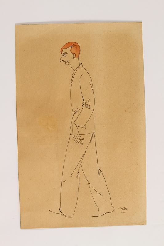2004.357.2 front Caricature of a red haired man walking by an inmate of Theresienstadt