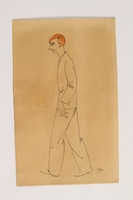 2004.357.2 front Caricature of a red haired man walking by an inmate of Theresienstadt  Click to enlarge