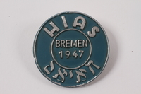 2013.474.2 front Blue and silver HIAS pin worn by a Jewish Latvian youth postwar  Click to enlarge