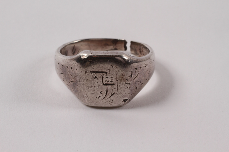 2013.474.3 front Engraved ring made from a spoon for a Jewish Latvian boy in Riga ghetto