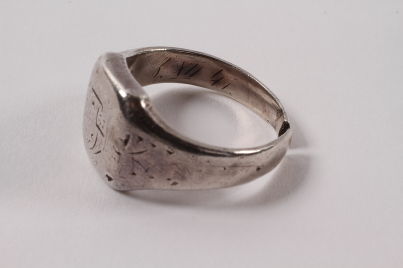 2013.474.3 left Engraved ring made from a spoon for a Jewish Latvian boy in Riga ghetto