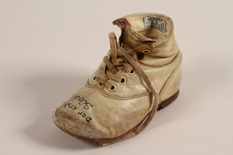 1994.53.7 a front Pair of toddler's shoes owned by a Jewish child refugee