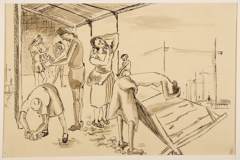 1988.1.21 front Drawing of women washing (Version II) by a German Jewish internee