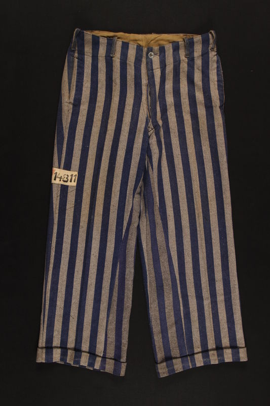 1994.55.3 front Concentration camp uniform pants with red triangle patch worn by Polish Jewish inmate