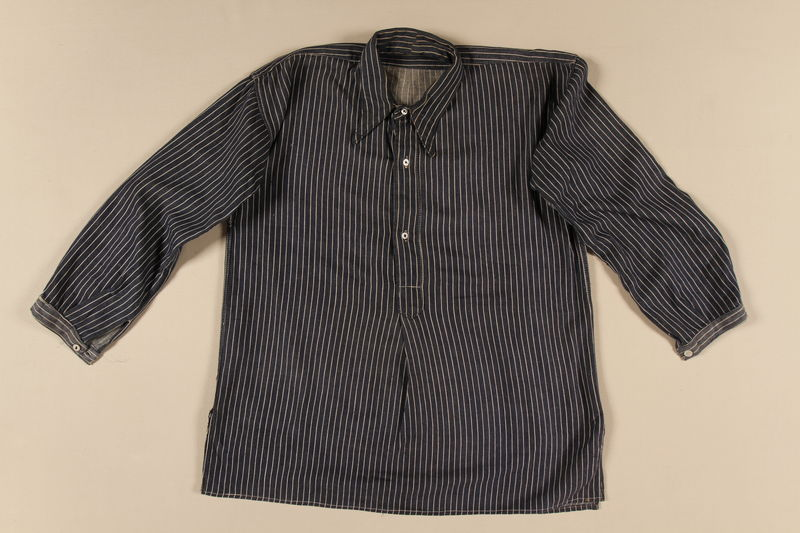 1994.55.4 front Striped uniform shirt worn by a Polish Jewish concentration camp inmate