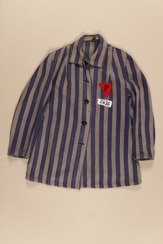 1994.57.1 front Concentration camp inmate uniform jacket