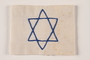 White armband with a blue chain stiched embroidered Star of David