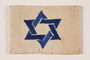 White armband with a blue satin stiched embroidered Star of David