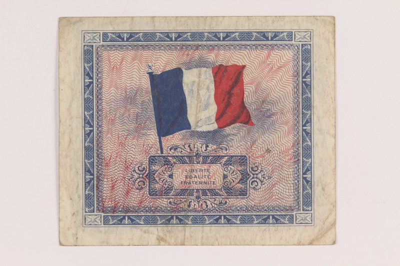 2013.442.16 back Allied Military Authority currency, 2 francs, for use in France, acquired by a US soldier