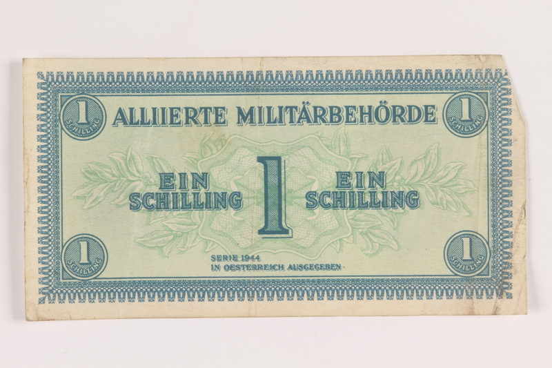 2013.442.21 front Allied Military Authority currency, 1 schilling, for use in Austria, acquired by a US soldier