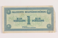2013.442.21 front Allied Military Authority currency, 1 schilling, for use in Austria, acquired by a US soldier  Click to enlarge