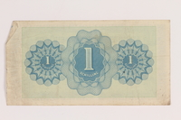 2013.442.21 back Allied Military Authority currency, 1 schilling, for use in Austria, acquired by a US soldier  Click to enlarge